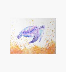 Tortue violette surréaliste à l'aquarelle Impression rigide