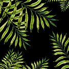 Tropical Night - Greenery On Black by Ekaterina Chernova