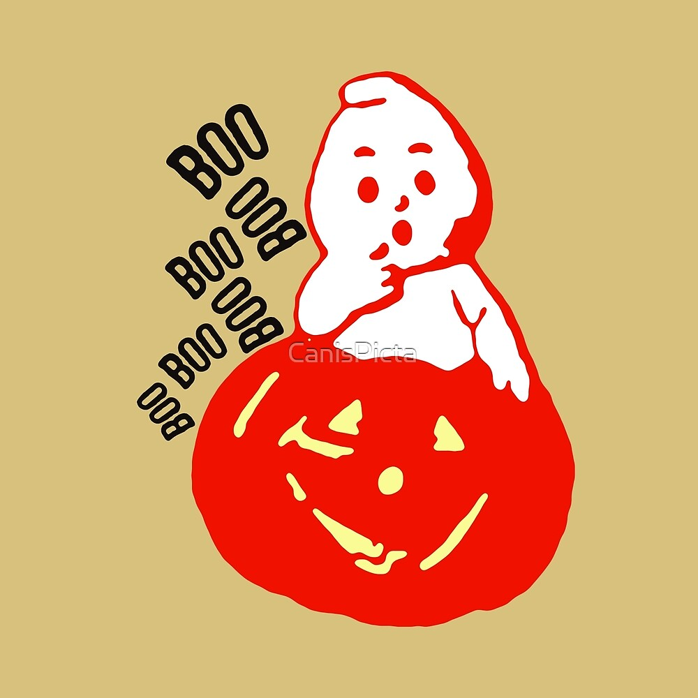"""Teeny Little Ghosty Guy"" Halloween Jack O'Lantern Cute Ghost by CanisPicta"
