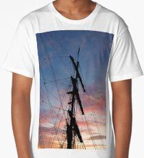 Tall Ship At Sunset -  Auckland Harbor Long T-Shirt