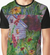 Garden House and Mountains, Acrylic Painting, Dreamy Northwestern landscape Graphic T-Shirt