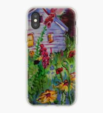 Garden House and Mountains, Acrylic Painting, Dreamy Northwestern landscape iPhone Case
