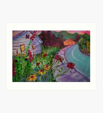 Garden House and Mountains, Acrylic Painting, Dreamy Northwestern landscape Art Print
