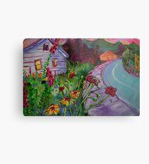 Garden House and Mountains, Acrylic Painting, Dreamy Northwestern landscape Metal Print