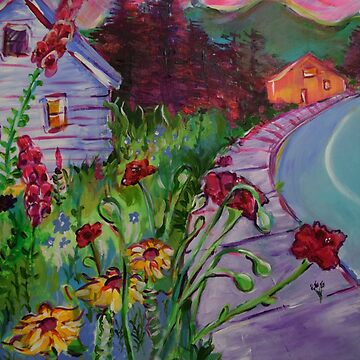 Garden House and Mountains, Acrylic Painting, Dreamy Northwestern landscape by natalieweinberg