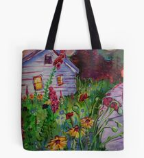 Garden House and Mountains, Acrylic Painting, Dreamy Northwestern landscape Tote Bag