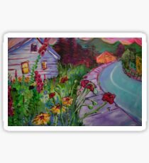 Garden House and Mountains, Acrylic Painting, Dreamy Northwestern landscape Sticker
