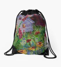 Garden House and Mountains, Acrylic Painting, Dreamy Northwestern landscape Drawstring Bag