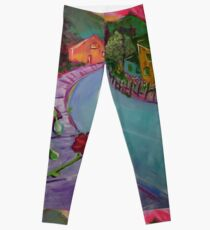 Garden House and Mountains, Acrylic Painting, Dreamy Northwestern landscape Leggings