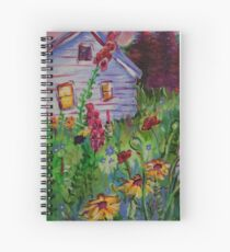Garden House and Mountains, Acrylic Painting, Dreamy Northwestern landscape Spiral Notebook