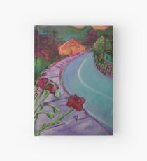 Garden House and Mountains, Acrylic Painting, Dreamy Northwestern landscape Hardcover Journal