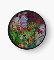 Garden House and Mountains, Acrylic Painting, Dreamy Northwestern landscape Clock