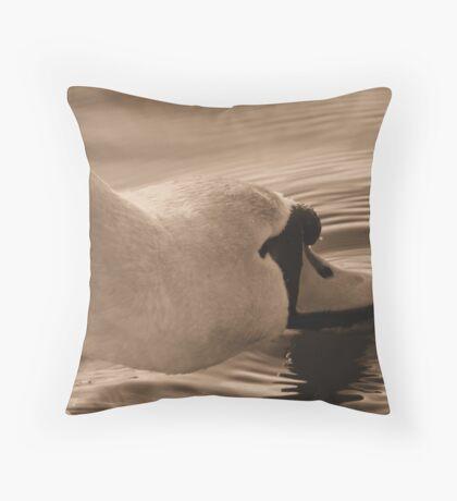 Sepia Swan Throw Pillow