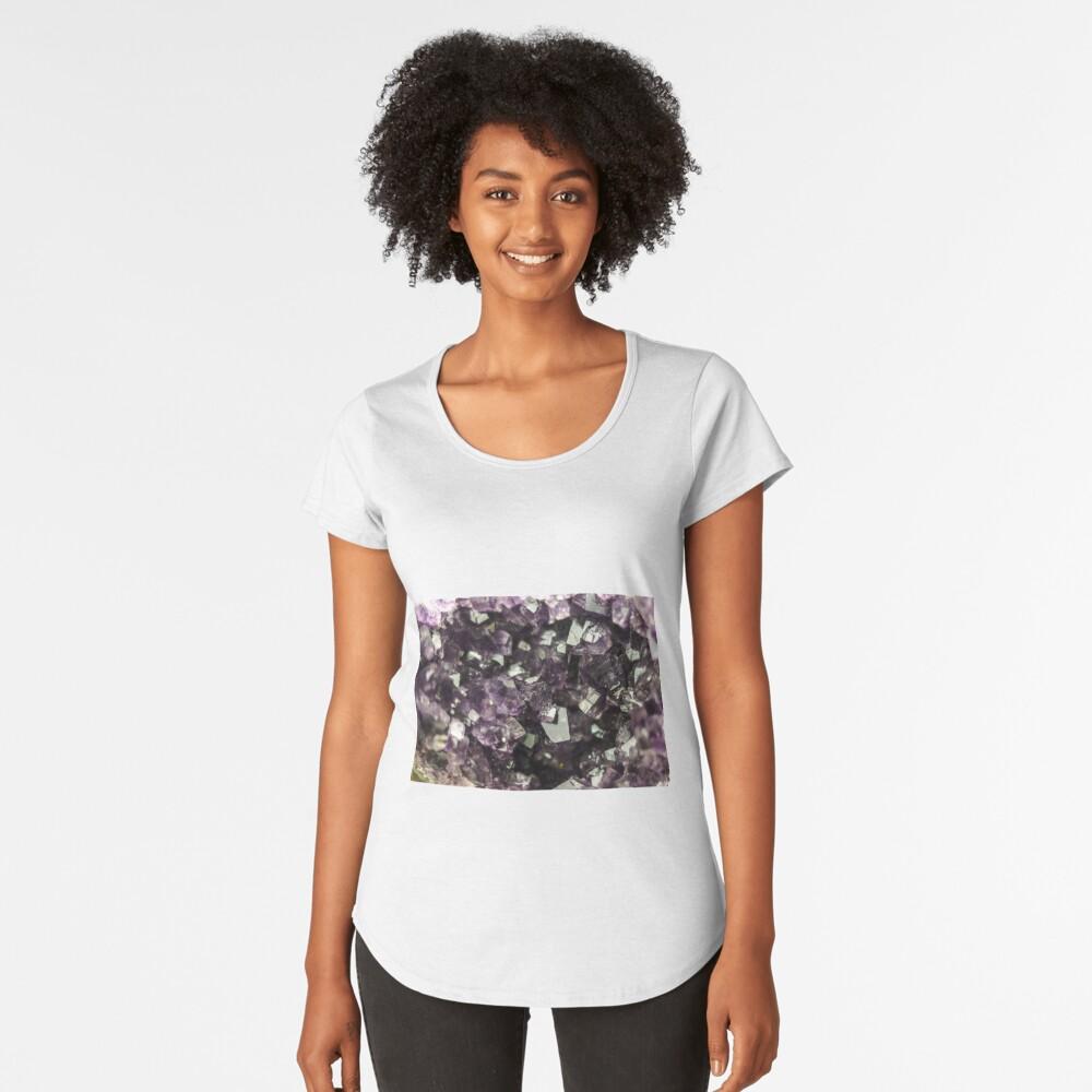 Amethyst Kristalle Premium Rundhals-Shirt