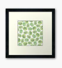 Unique green black watercolor kiwi pattern Framed Print