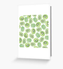 Unique green black watercolor kiwi pattern Greeting Card