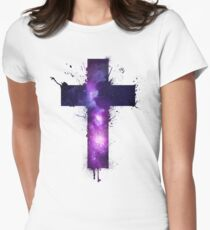 Galaxy Cross Womens Fitted T-Shirt
