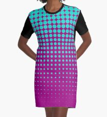 Modern techno shrinking polka dots opal and strong fuchsia Graphic T-Shirt Dress