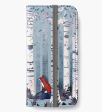 Die Birken (in Blau) iPhone Flip-Case/Hülle/Klebefolie