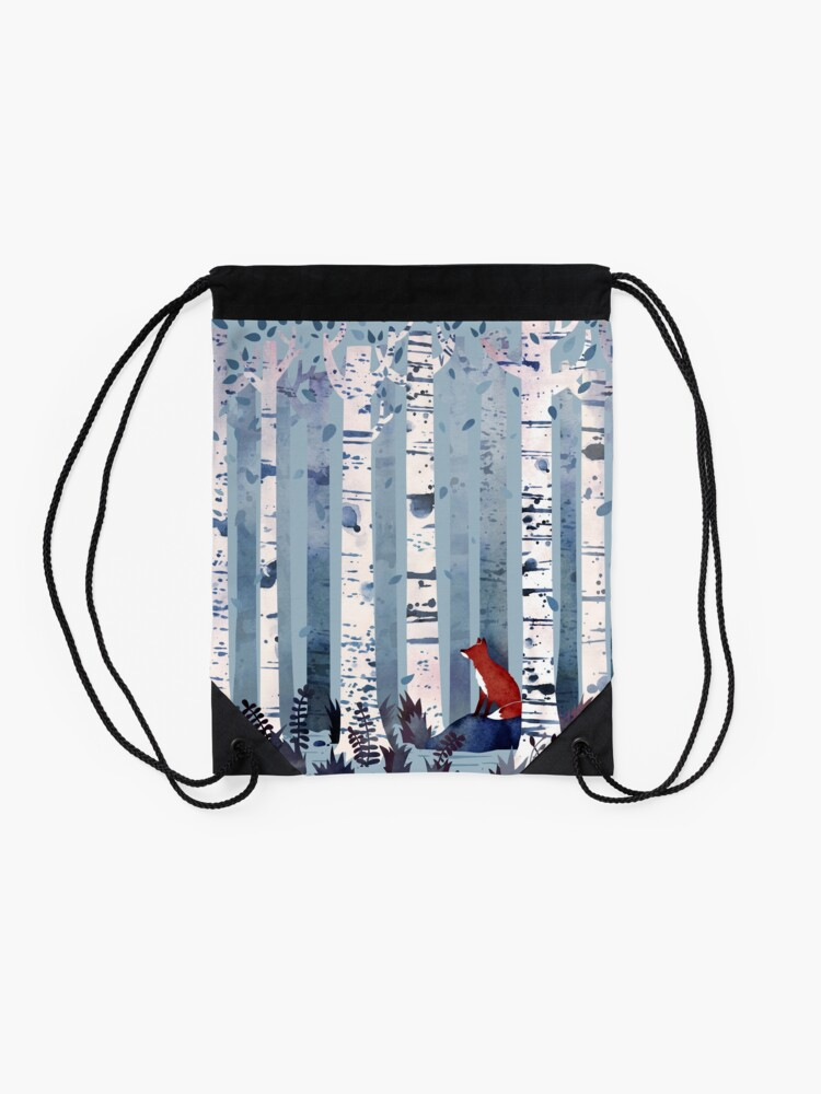 Alternate view of The Birches (in Blue) Drawstring Bag