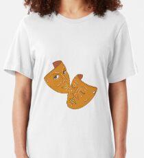 Camiseta ajustada Teatro Máscara Comedia y Tragedia Mono Line