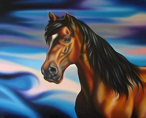 Horse in oils by koru