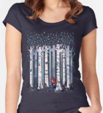 Die Birken (in Blau) Tailliertes Rundhals-Shirt