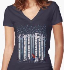 The Birches (in Blue) Women's Fitted V-Neck T-Shirt