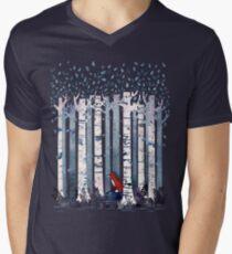 Die Birken (in Blau) T-Shirt mit V-Ausschnitt für Männer