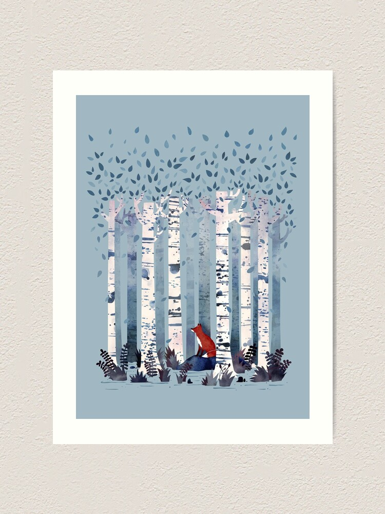 Alternate view of The Birches (in Blue) Art Print