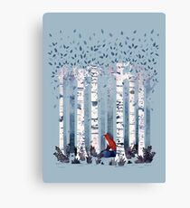 The Birches (in Blue) Canvas Print