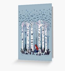 The Birches (in Blue) Greeting Card