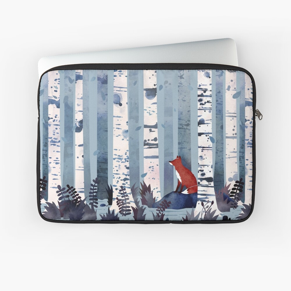 The Birches (in Blue) Laptop Sleeve Front