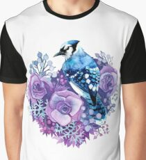 Blue Jay and Violet Flowers Watercolor  Graphic T-Shirt