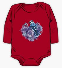 Blue Jay and Violet Flowers Watercolor  One Piece - Long Sleeve