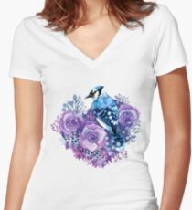 Blue Jay and Violet Flowers Watercolor  Women's Fitted V-Neck T-Shirt