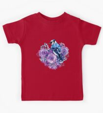 Blue Jay and Violet Flowers Watercolor  Kids Clothes