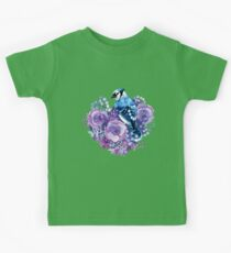 Blue Jay and Violet Flowers Watercolor  Kids Tee