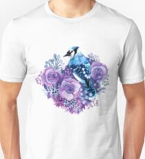 Blue Jay and Violet Flowers Watercolor  Unisex T-Shirt