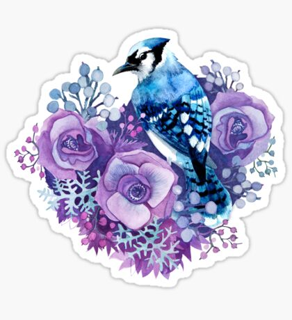 Blue Jay and Violet Flowers Watercolor  Sticker