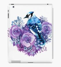 Blue Jay and Violet Flowers Watercolor  iPad Case/Skin