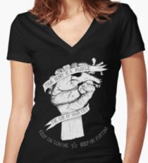 Your Heart Is A Muscle Reverse  Women's Fitted V-Neck T-Shirt