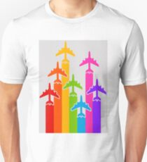 rainbow color airplanes travel Unisex T-Shirt