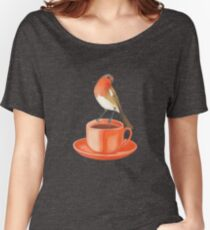 coffee loving robin bird Women's Relaxed Fit T-Shirt