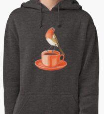 coffee loving robin bird Pullover Hoodie
