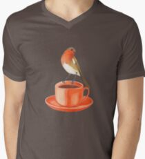 coffee loving robin bird Men's V-Neck T-Shirt