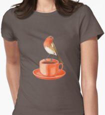 coffee loving robin bird Womens Fitted T-Shirt