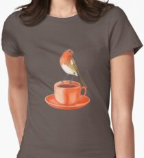 coffee loving robin bird Women's Fitted T-Shirt