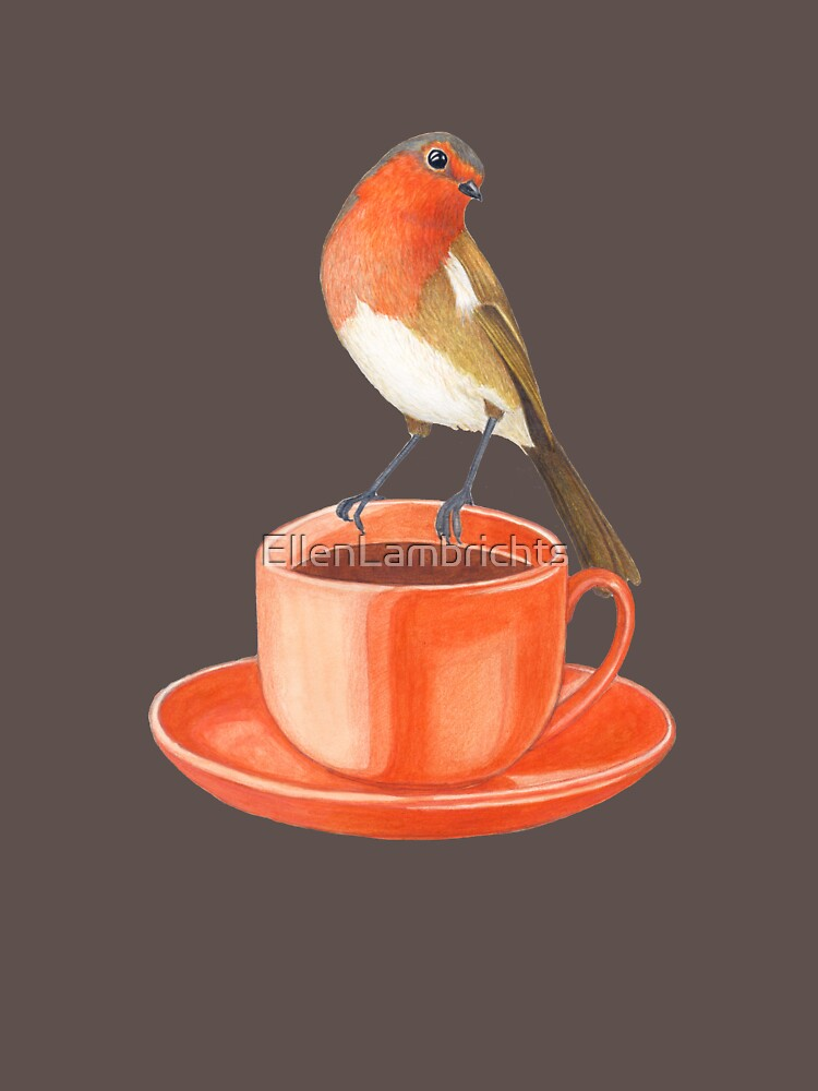 coffee loving robin bird by EllenLambrichts
