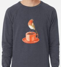 coffee loving robin bird Lightweight Sweatshirt